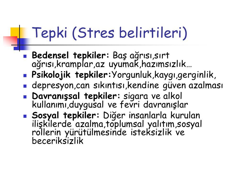 Tepki (Stres belirtileri)  Bedensel tepkiler: Baş ağrısı,sırt ağrısı,kramplar,az uyumak,hazımsızlık…  Psikolojik tepkiler:Yorgunluk,kaygı,gerginlik,