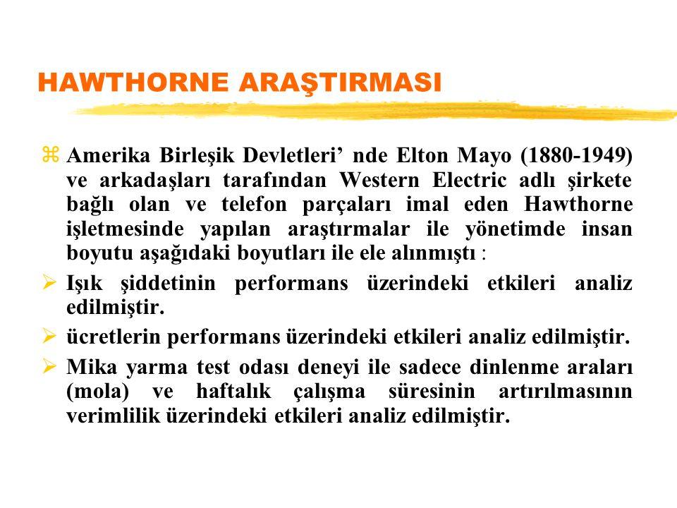 HAWTHORNE ARAŞTIRMASI zAmerika Birleşik Devletleri' nde Elton Mayo (1880-1949) ve arkadaşları tarafından Western Electric adlı şirkete bağlı olan ve t