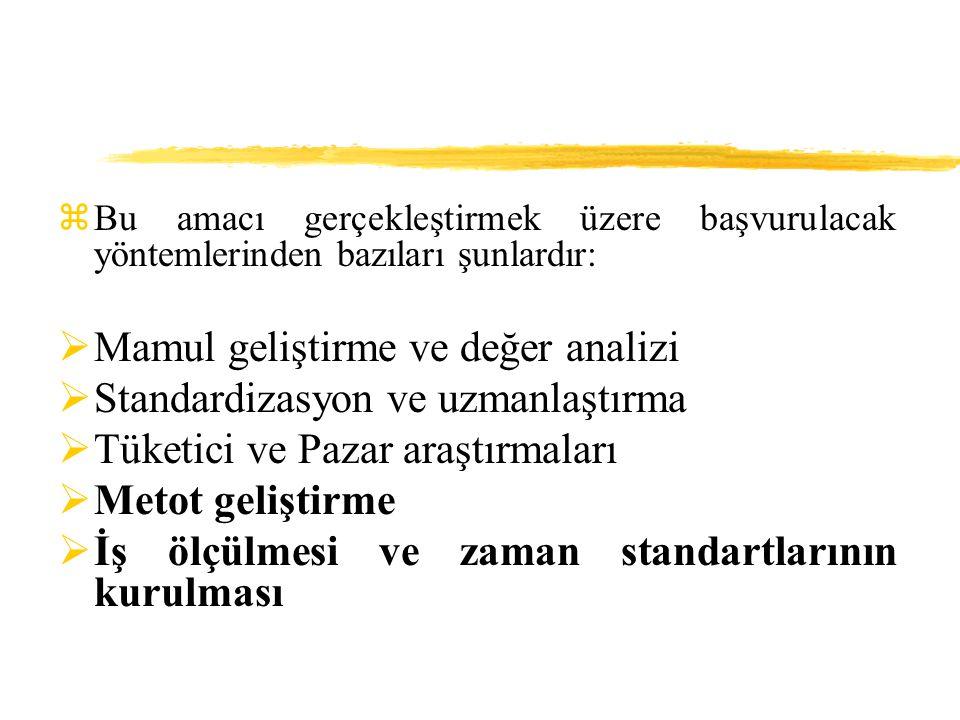 zBu amacı gerçekleştirmek üzere başvurulacak yöntemlerinden bazıları şunlardır:  Mamul geliştirme ve değer analizi  Standardizasyon ve uzmanlaştırma