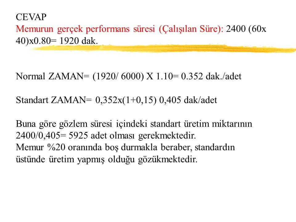 CEVAP Memurun gerçek performans süresi (Çalışılan Süre): 2400 (60x 40)x0.80= 1920 dak. Normal ZAMAN= (1920/ 6000) X 1.10= 0.352 dak./adet Standart ZAM