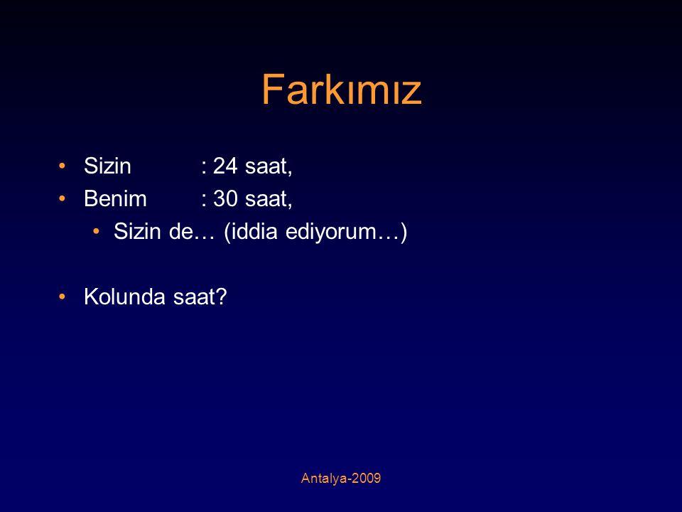 Antalya-2009 Farkımız •Sizin : 24 saat, •Benim : 30 saat, •Sizin de… (iddia ediyorum…) •Kolunda saat?