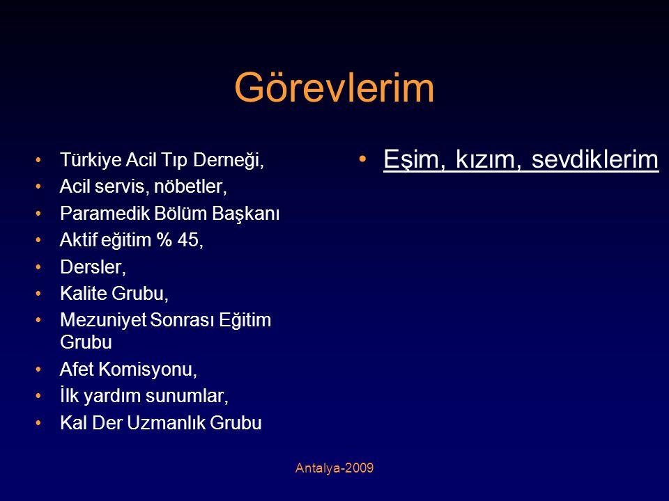 Antalya-2009 Görevlerim •Türkiye Acil Tıp Derneği, •Acil servis, nöbetler, •Paramedik Bölüm Başkanı •Aktif eğitim % 45, •Dersler, •Kalite Grubu, •Mezu