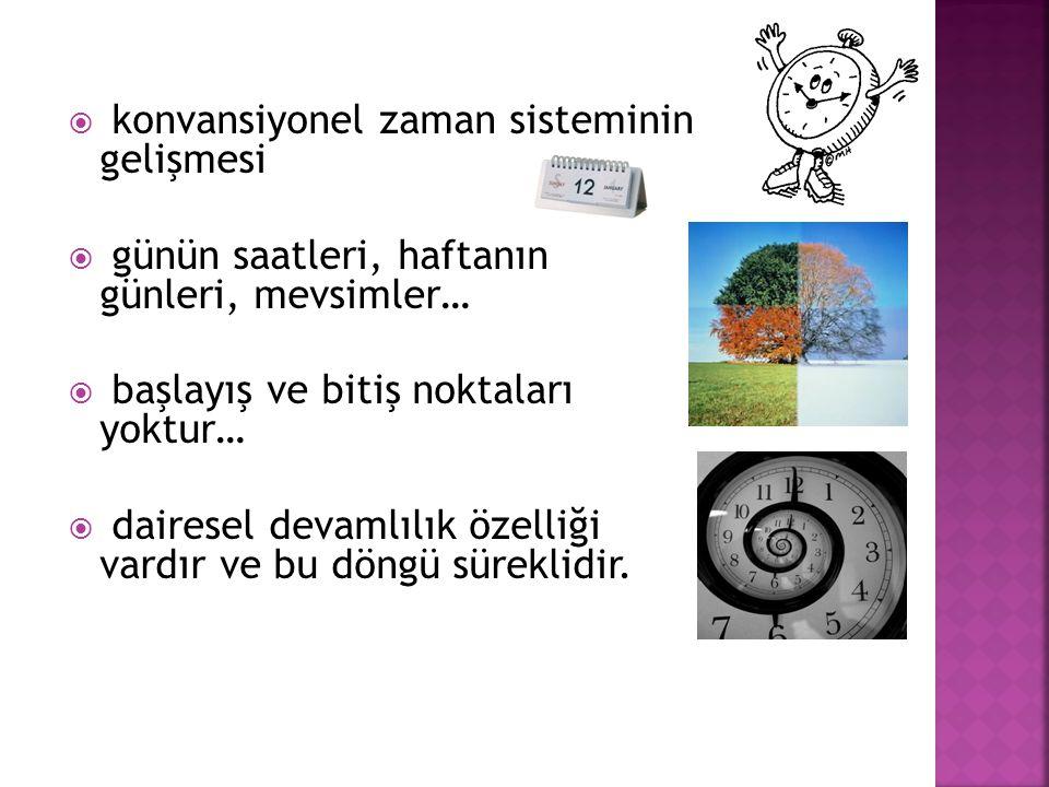  konvansiyonel zaman sisteminin gelişmesi  günün saatleri, haftanın günleri, mevsimler…  başlayış ve bitiş noktaları yoktur…  dairesel devamlılık