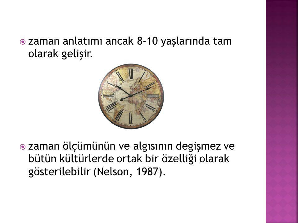  zaman anlatımı ancak 8-10 yaşlarında tam olarak gelişir.  zaman ölçümünün ve algısının degişmez ve bütün kültürlerde ortak bir özelliği olarak göst
