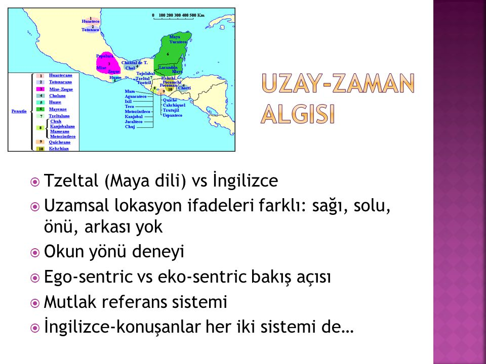  Tzeltal (Maya dili) vs İngilizce  Uzamsal lokasyon ifadeleri farklı: sağı, solu, önü, arkası yok  Okun yönü deneyi  Ego-sentric vs eko-sentric ba