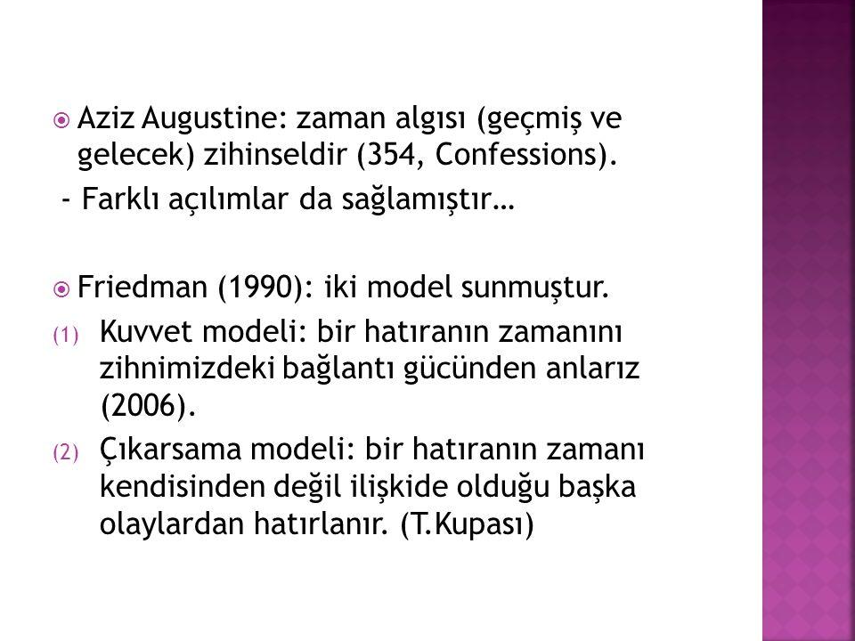 Aziz Augustine: zaman algısı (geçmiş ve gelecek) zihinseldir (354, Confessions). - Farklı açılımlar da sağlamıştır…  Friedman (1990): iki model sun