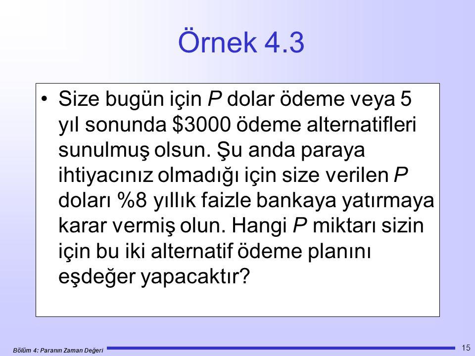 Bölüm 4: Paranın Zaman Değeri 15 Örnek 4.3 •Size bugün için P dolar ödeme veya 5 yıl sonunda $3000 ödeme alternatifleri sunulmuş olsun.
