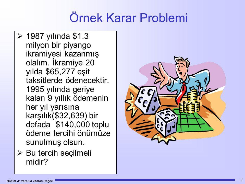 Bölüm 4: Paranın Zaman Değeri 43 Verilen Şimdiki Değer için Eşit Ödeme Seris Örnek 4.18: •Verilen: A = $32,639, N = 9 yıl ve i = %10 •İstenen: P •Çözüm: P = $32,639(P/A,%10, 9) = $187,968 > 140,000toplu para almayla kaybedilen para 1 2 3 N P A 0