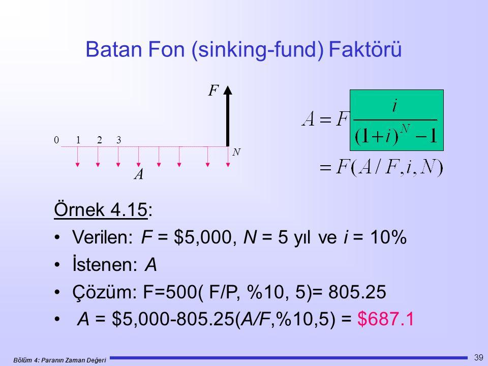 Bölüm 4: Paranın Zaman Değeri 39 Batan Fon (sinking-fund) Faktörü Örnek 4.15: •Verilen: F = $5,000, N = 5 yıl ve i = 10% •İstenen: A •Çözüm: F=500( F/P, %10, 5)= 805.25 • A = $5,000-805.25(A/F,%10,5) = $687.1 0 1 2 3 N F A
