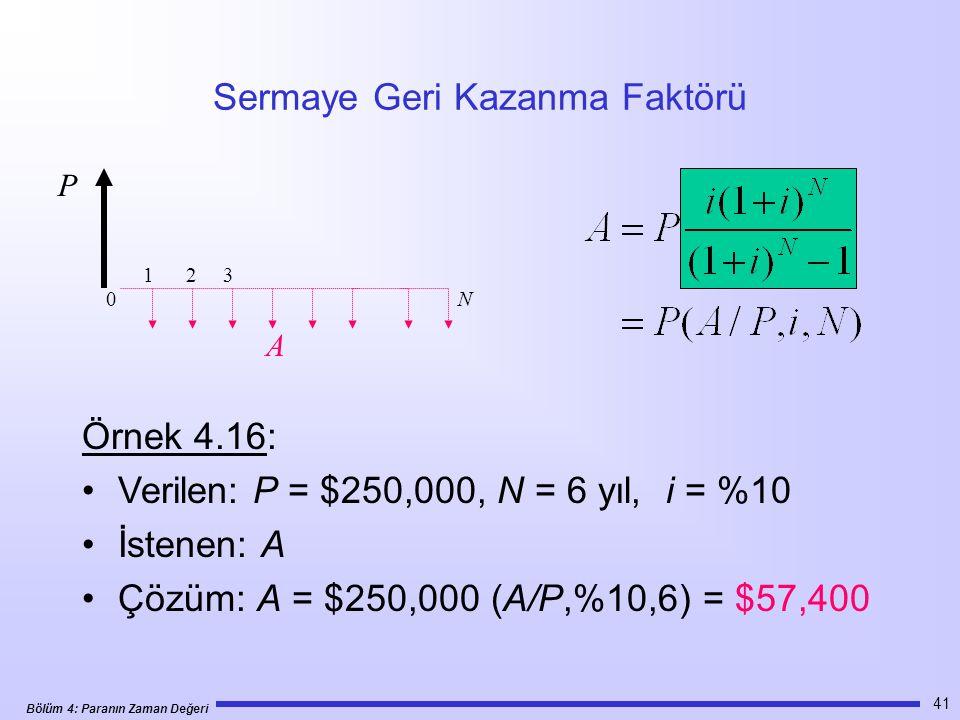Bölüm 4: Paranın Zaman Değeri 41 Sermaye Geri Kazanma Faktörü Örnek 4.16: •Verilen: P = $250,000, N = 6 yıl, i = %10 •İstenen: A •Çözüm: A = $250,000 (A/P,%10,6) = $57,400 1 2 3 N P A 0