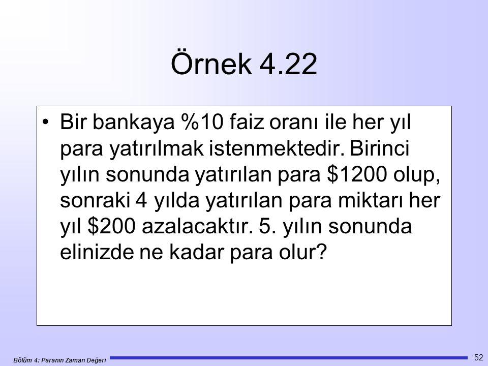 Bölüm 4: Paranın Zaman Değeri 52 Örnek 4.22 •Bir bankaya %10 faiz oranı ile her yıl para yatırılmak istenmektedir.