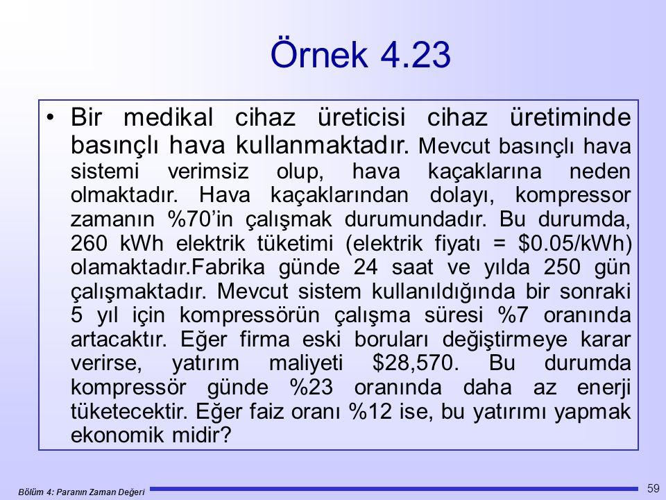 Bölüm 4: Paranın Zaman Değeri 59 •Bir medikal cihaz üreticisi cihaz üretiminde basınçlı hava kullanmaktadır.