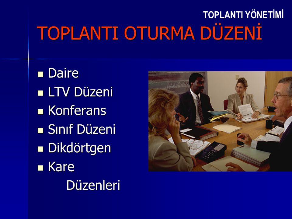 TOPLANTI YÖNETİMİ TOPLANTI OTURMA DÜZENİ  Daire  LTV Düzeni  Konferans  Sınıf Düzeni  Dikdörtgen  Kare Düzenleri