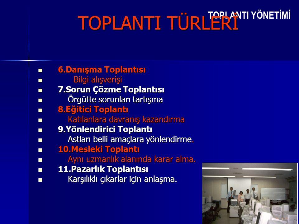 TOPLANTI YÖNETİMİ TOPLANTI TÜRLERİ  6.Danışma Toplantısı  Bilgi alışverişi  7.Sorun Çözme Toplantısı  Örgütte sorunları tartışma  8.Eğitici Topla