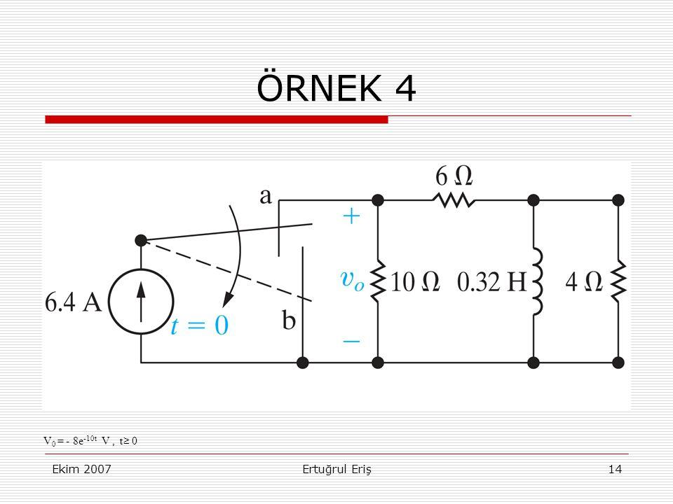 Ekim 2007Ertuğrul Eriş14 ÖRNEK 4 V 0 = - 8e -10t V, t ≥ 0