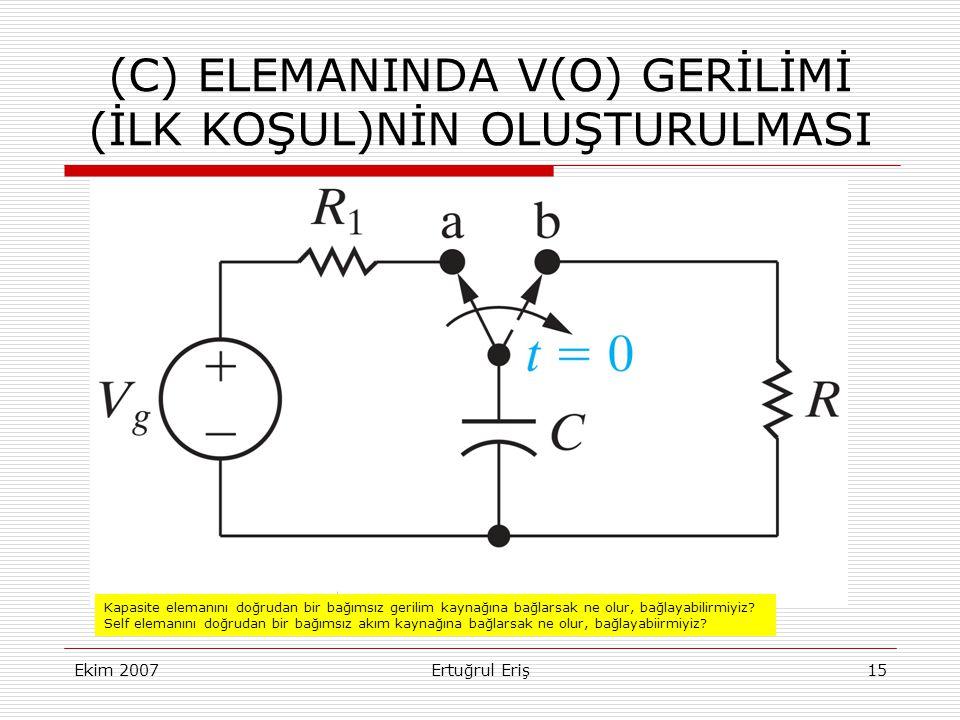 Ekim 2007Ertuğrul Eriş15 (C) ELEMANINDA V(O) GERİLİMİ (İLK KOŞUL)NİN OLUŞTURULMASI Kapasite elemanını doğrudan bir bağımsız gerilim kaynağına bağlarsak ne olur, bağlayabilirmiyiz.