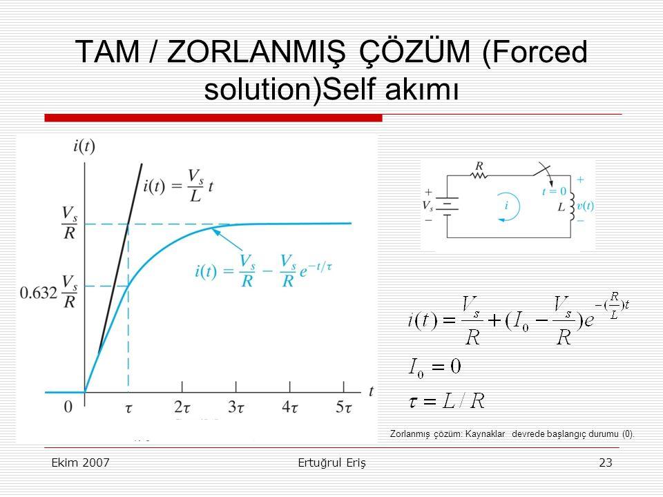 Ekim 2007Ertuğrul Eriş23 TAM / ZORLANMIŞ ÇÖZÜM (Forced solution)Self akımı Zorlanmış çözüm: Kaynaklar devrede başlangıç durumu (0).