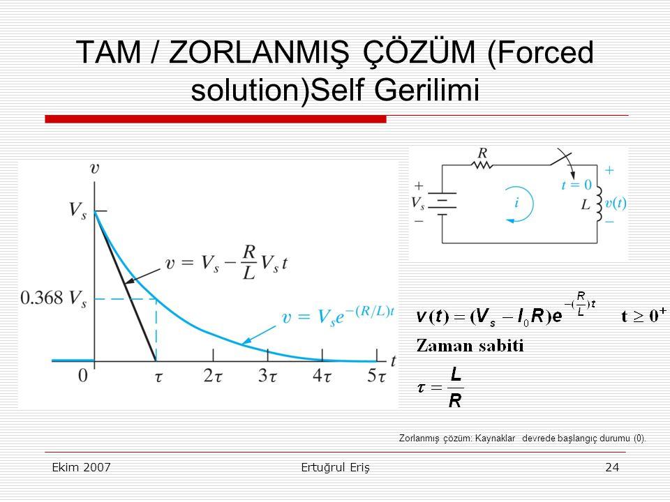 Ekim 2007Ertuğrul Eriş24 TAM / ZORLANMIŞ ÇÖZÜM (Forced solution)Self Gerilimi Zorlanmış çözüm: Kaynaklar devrede başlangıç durumu (0).