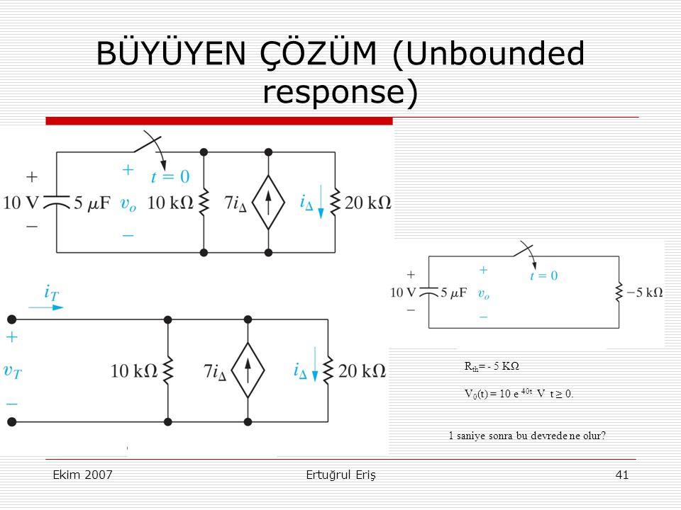 Ekim 2007Ertuğrul Eriş41 BÜYÜYEN ÇÖZÜM (Unbounded response) R th = - 5 KΩ V 0 (t) = 10 e 40t V t ≥ 0.