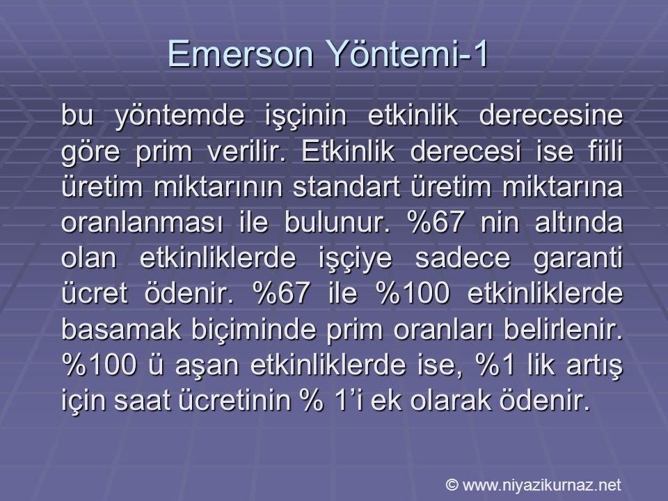Emerson Yöntemi-1 bu yöntemde işçinin etkinlik derecesine göre prim verilir.