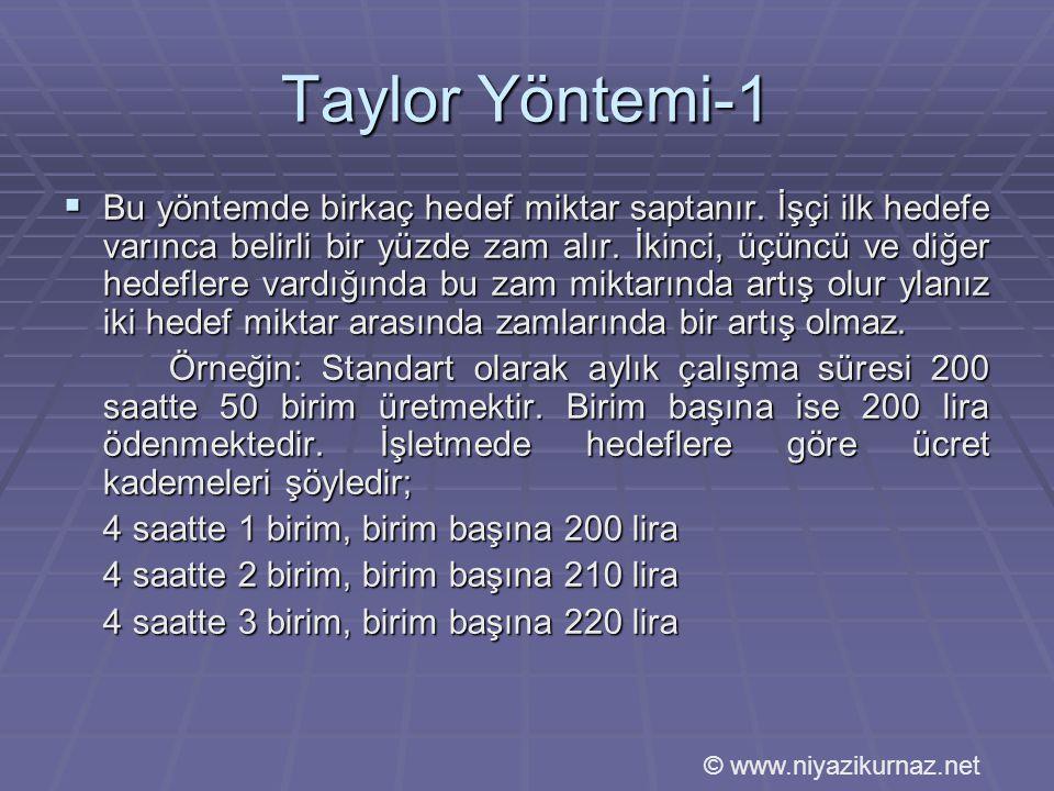 Taylor Yöntemi-1  Bu yöntemde birkaç hedef miktar saptanır.