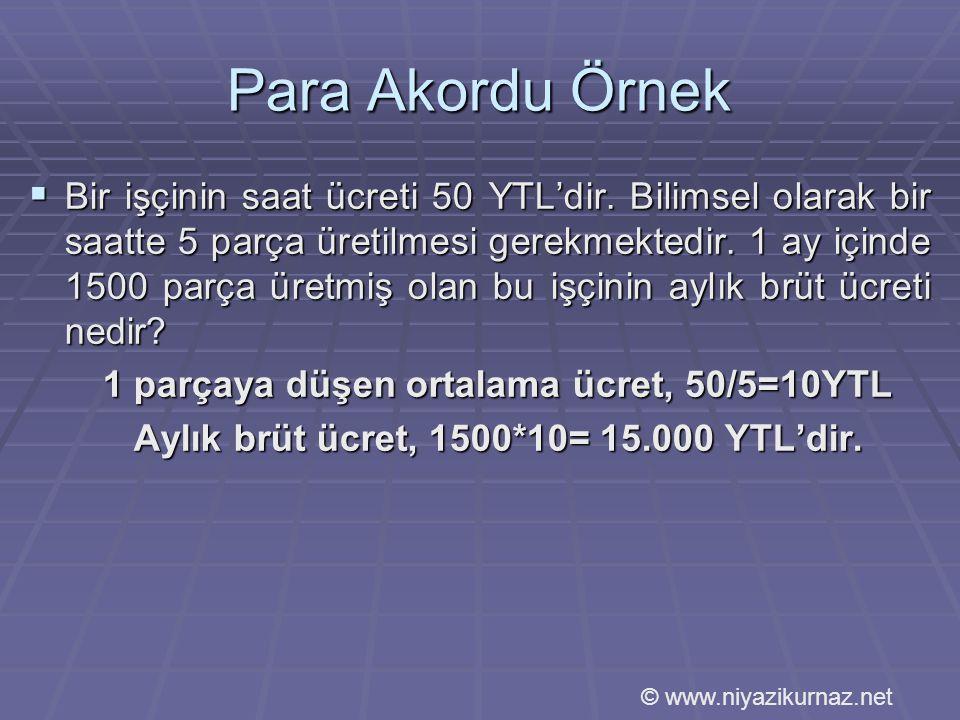 Para Akordu Örnek  Bir işçinin saat ücreti 50 YTL'dir.