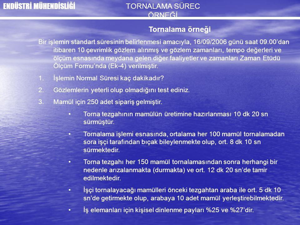 Tornalama örneği Bir işlemin standart süresinin belirlenmesi amacıyla, 16/09/2006 günü saat 09.00'dan itibaren 10 çevrimlik gözlem alınmış ve gözlem z
