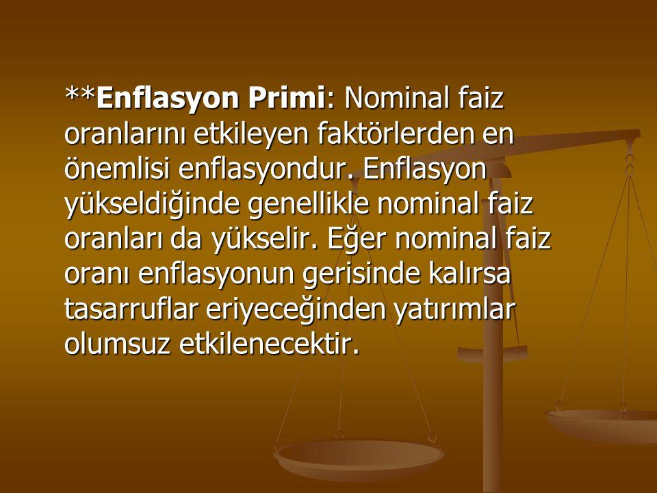 **Enflasyon Primi: Nominal faiz oranlarını etkileyen faktörlerden en önemlisi enflasyondur. Enflasyon yükseldiğinde genellikle nominal faiz oranları d
