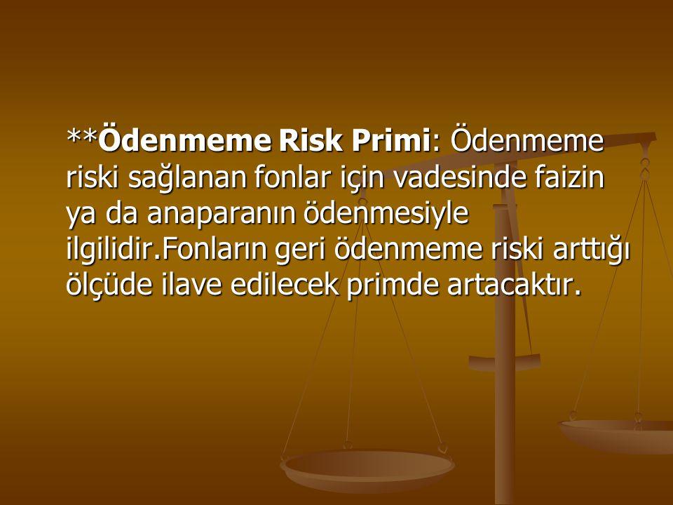 **Ödenmeme Risk Primi: Ödenmeme riski sağlanan fonlar için vadesinde faizin ya da anaparanın ödenmesiyle ilgilidir.Fonların geri ödenmeme riski arttığ