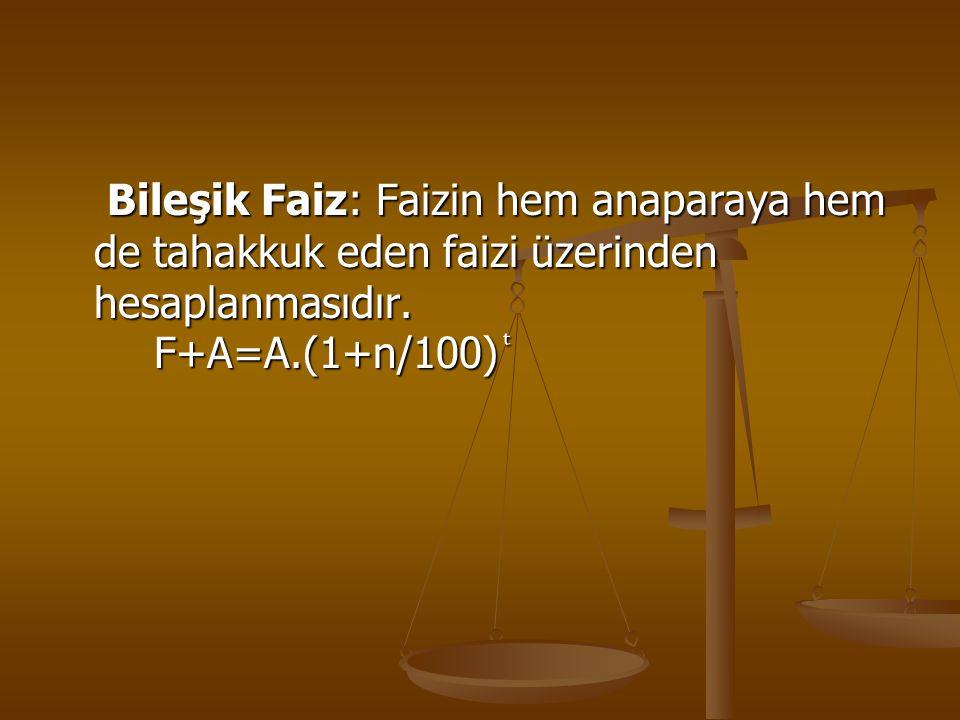 Bileşik Faiz: Faizin hem anaparaya hem de tahakkuk eden faizi üzerinden hesaplanmasıdır. F+A=A.(1+n/100) Bileşik Faiz: Faizin hem anaparaya hem de tah