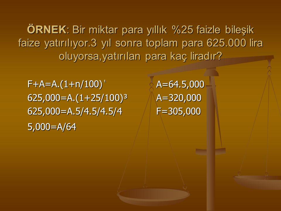 ÖRNEK: Bir miktar para yıllık %25 faizle bileşik faize yatırılıyor.3 yıl sonra toplam para 625.000 lira oluyorsa,yatırılan para kaç liradır? F+A=A.(1+