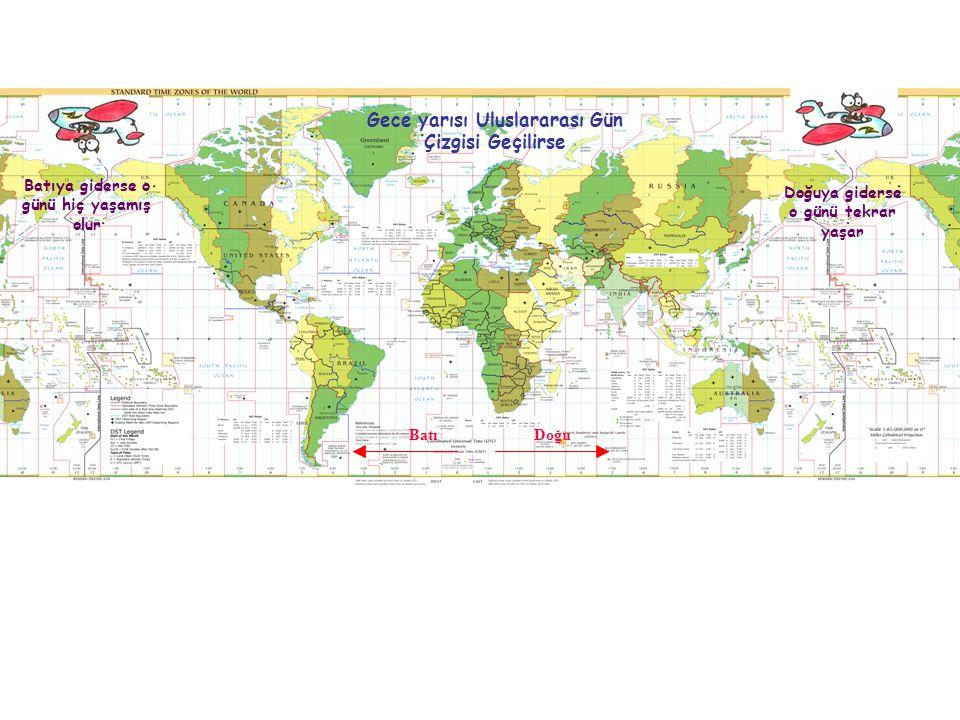 Doğuya giderse o günü tekrar yaşar Batıya giderse o günü hiç yaşamış olur Gece yarısı Uluslararası Gün Çizgisi Geçilirse DoğuBatı