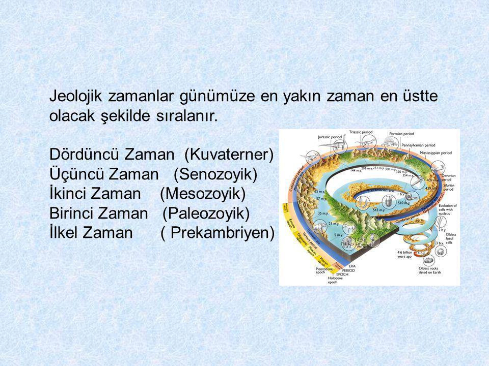 Jeolojik zamanlar günümüze en yakın zaman en üstte olacak şekilde sıralanır.