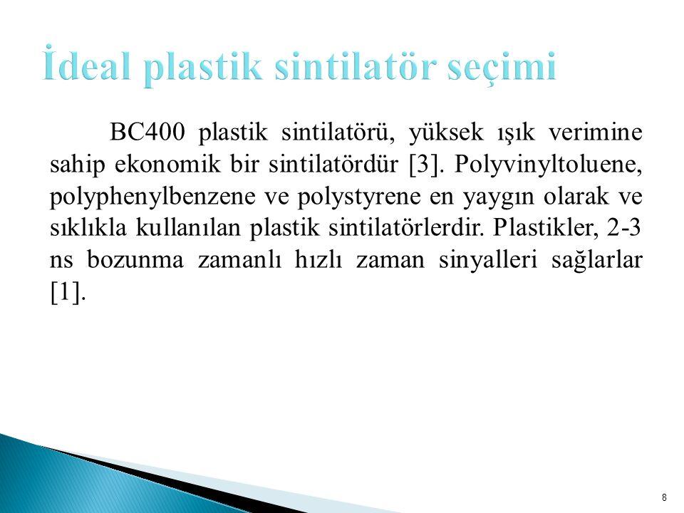 BC400 plastik sintilatörü, yüksek ışık verimine sahip ekonomik bir sintilatördür [3].