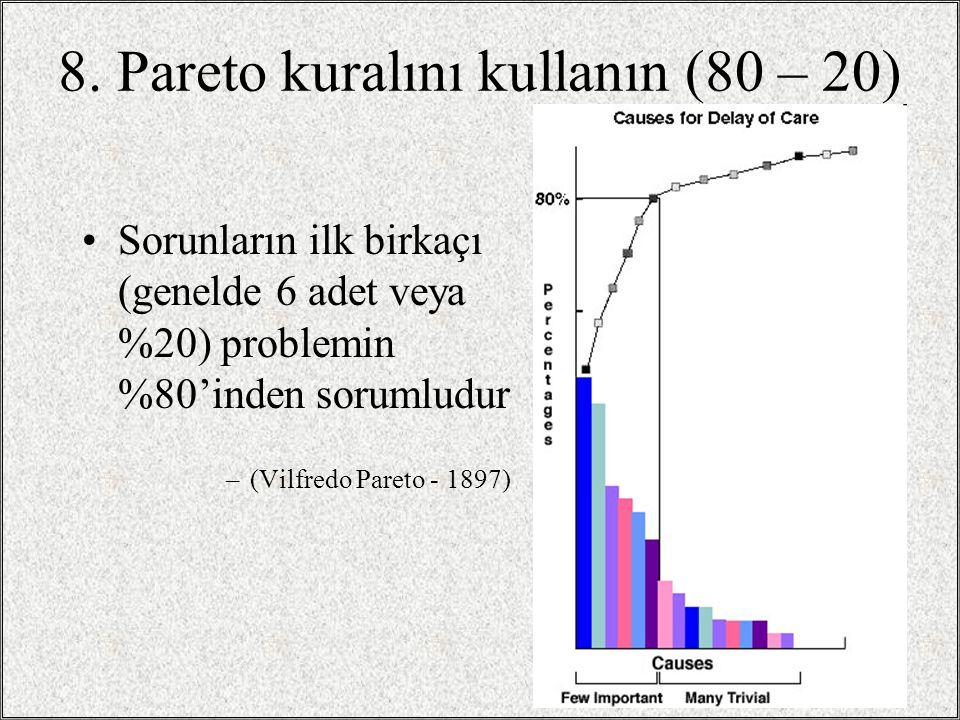 8. Pareto kuralını kullanın (80 – 20) •Sorunların ilk birkaçı (genelde 6 adet veya %20) problemin %80'inden sorumludur –(Vilfredo Pareto - 1897) / 271
