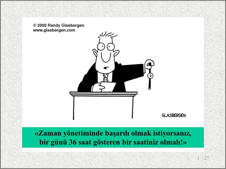 / 272 «Zaman yönetiminde başarılı olmak istiyorsanız, bir günü 36 saat gösteren bir saatiniz olmalı!»