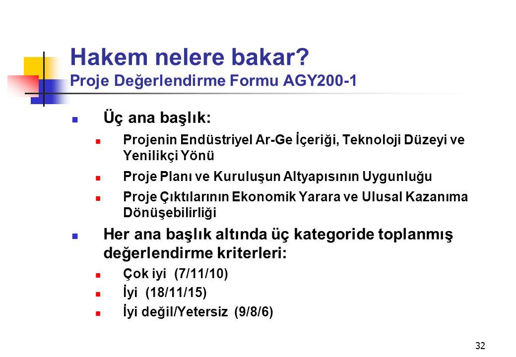 32 Hakem nelere bakar? Proje Değerlendirme Formu AGY200-1  Üç ana başlık:  Projenin Endüstriyel Ar-Ge İçeriği, Teknoloji Düzeyi ve Yenilikçi Yönü 