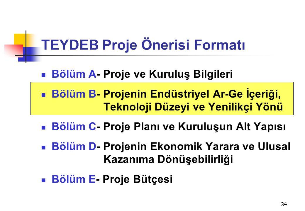 34 TEYDEB Proje Önerisi Formatı  Bölüm A- Proje ve Kuruluş Bilgileri  Bölüm B- Projenin Endüstriyel Ar-Ge İçeriği, Teknoloji Düzeyi ve Yenilikçi Yön