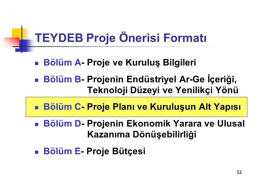 53 TEYDEB Proje Önerisi Formatı  Bölüm A- Proje ve Kuruluş Bilgileri  Bölüm B- Projenin Endüstriyel Ar-Ge İçeriği, Teknoloji Düzeyi ve Yenilikçi Yön