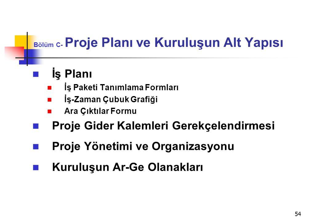54 Bölüm C- Proje Planı ve Kuruluşun Alt Yapısı  İş Planı  İş Paketi Tanımlama Formları  İş-Zaman Çubuk Grafiği  Ara Çıktılar Formu  Proje Gider
