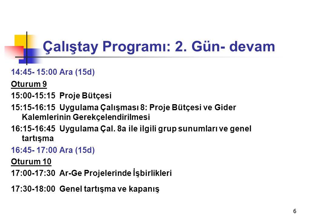 6 Çalıştay Programı: 2. Gün- devam 14:45- 15:00 Ara (15d) Oturum 9 15:00-15:15 Proje Bütçesi 15:15-16:15 Uygulama Çalışması 8: Proje Bütçesi ve Gider
