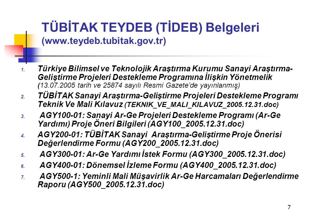 7 TÜBİTAK TEYDEB (TİDEB) Belgeleri (www.teydeb.tubitak.gov.tr) 1. Türkiye Bilimsel ve Teknolojik Araştırma Kurumu Sanayi Araştırma- Geliştirme Projele