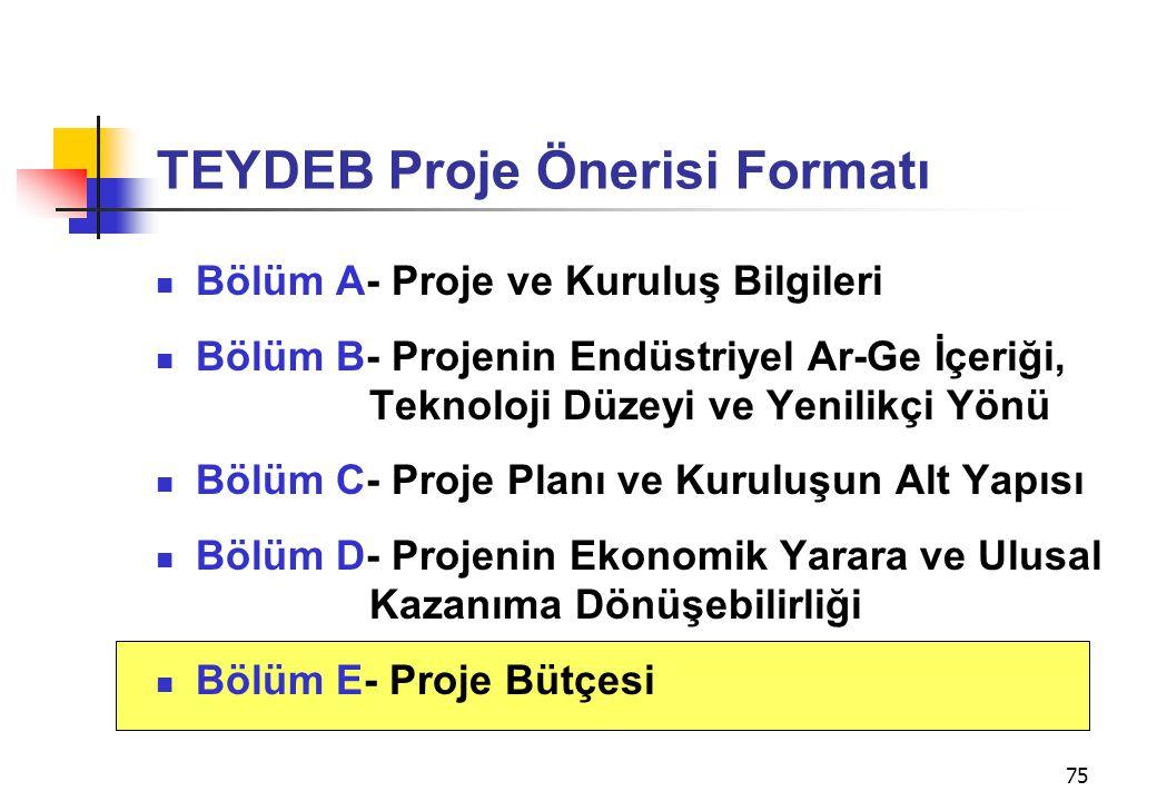75 TEYDEB Proje Önerisi Formatı  Bölüm A- Proje ve Kuruluş Bilgileri  Bölüm B- Projenin Endüstriyel Ar-Ge İçeriği, Teknoloji Düzeyi ve Yenilikçi Yön