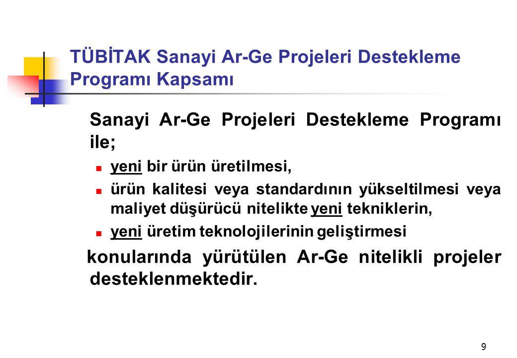 9 TÜBİTAK Sanayi Ar-Ge Projeleri Destekleme Programı Kapsamı Sanayi Ar-Ge Projeleri Destekleme Programı ile;  yeni bir ürün üretilmesi,  ürün kalite