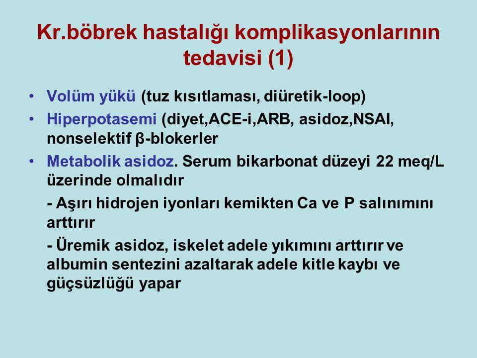 Kr.böbrek hastalığı komplikasyonlarının tedavisi (1) •Volüm yükü (tuz kısıtlaması, diüretik-loop) •Hiperpotasemi (diyet,ACE-i,ARB, asidoz,NSAI, nonselektif β-blokerler •Metabolik asidoz.