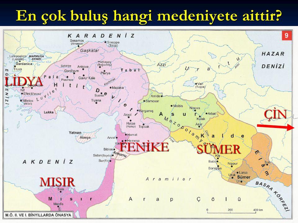 MÖ 3500 ÇİVİ YAZISI Sümer/Mezopotamya MÖ 3200 TEKERLEK Sümer/ Mezopotamya MÖ 3000 Ürün Toplama Makinesi Babil / Mezopotamya MÖ 1300 ALFABE Fenikeliler/ Suriye MÖ 700 PARA Lidyalılar/ Anadolu MÖ 540 Geometri Okulu Thales-İyon/ Anadolu