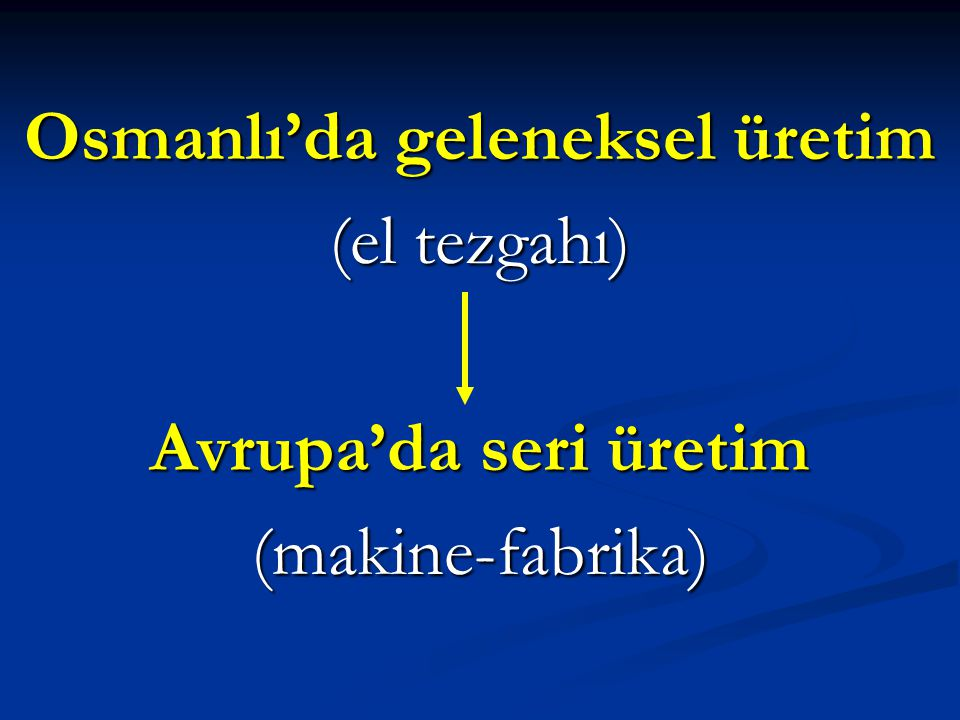 Osmanlı'da geleneksel üretim (el tezgahı) Avrupa'da seri üretim (makine-fabrika)
