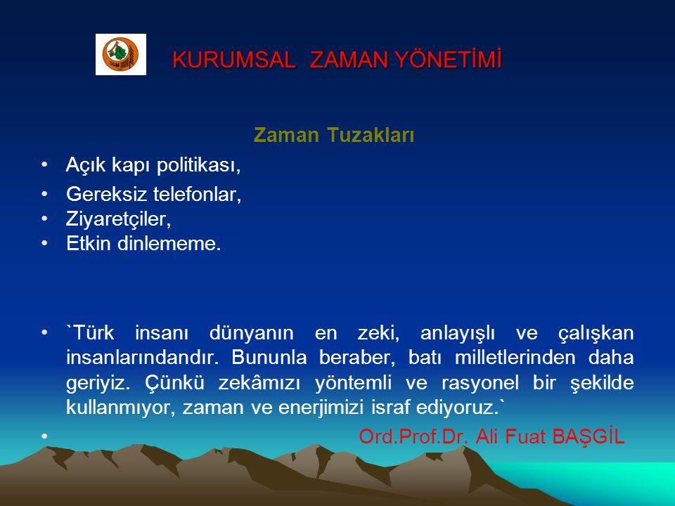 KURUMSAL ZAMAN YÖNETİMİ Zaman Tuzakları •Açık kapı politikası, •Gereksiz telefonlar, •Ziyaretçiler, •Etkin dinlememe. •`Türk insanı dünyanın en zeki,