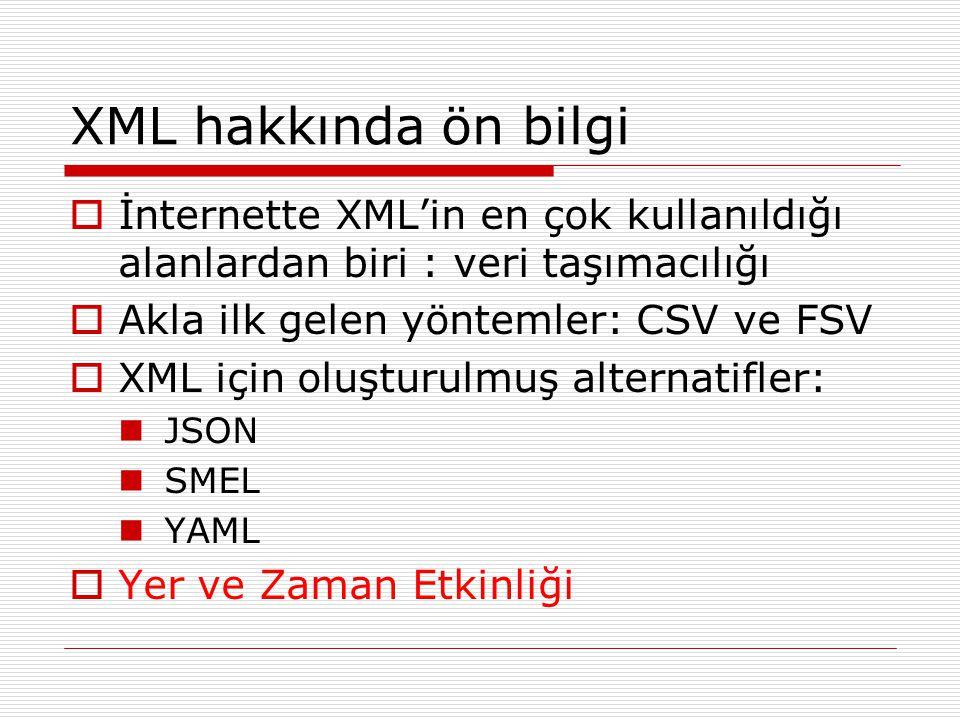 XML hakkında ön bilgi  İnternette XML'in en çok kullanıldığı alanlardan biri : veri taşımacılığı  Akla ilk gelen yöntemler: CSV ve FSV  XML için ol