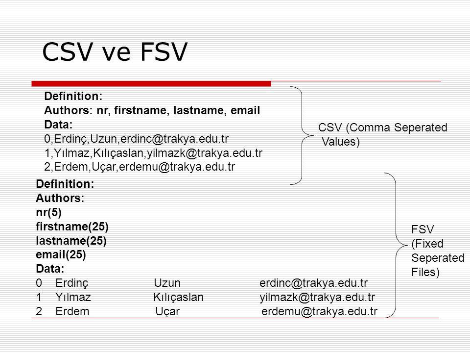 CSV ve FSV Definition: Authors: nr, firstname, lastname, email Data: 0,Erdinç,Uzun,erdinc@trakya.edu.tr 1,Yılmaz,Kılıçaslan,yilmazk@trakya.edu.tr 2,Er